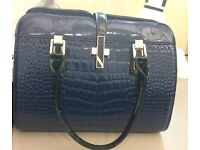 female summer handbag in solid blue and white- brand new