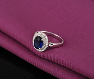 ROYAL BLUE SAPPHIRE SILVER RING - SIZE 7