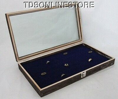 Rustic Antique Coffee Color 72 Ring Glass Top Display Case Blue Insert