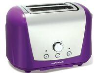 PURPLE MORPHY RICHARDS TOASTER AND COFFEE FILTER MAKER