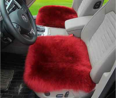 "Sheepskin Car Seat Covers Genuine Long Wool Chair cushion 18''×18"" wine red X1"