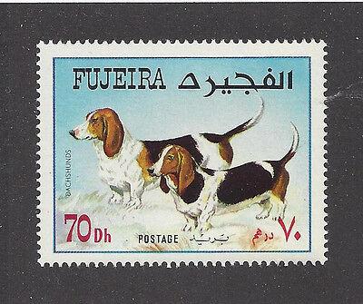 Dog Art Full Body Study Portrait Postage Stamp BASSET HOUND Fujeira Arabia MNH Basset Hound Dog Portrait