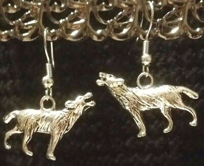 Handcrafted Tibetan Silver Howling Wolf Wild Animal Hook Earrings