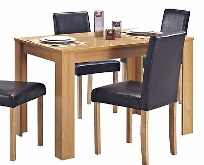 Wooden Dining TABLE ONLY Solid Wood Oak Effect Finish Table 4 Seater
