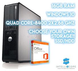 DELL Optiplex Quad Core - Q8400 Windows 10 Pro Wifi Enabled Choice of Storage Type & Size
