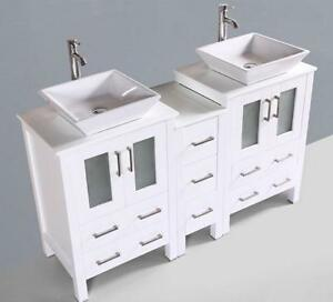 60 In. Freestanding Bathroom Vanity Set with Double Sinks and Mirrors