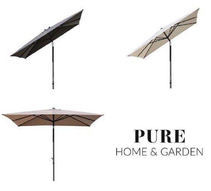 Sonnenschirm 3 x 3 m Kurbelschirm Gartenschirm Balkonschirm knickbar Alu eckig