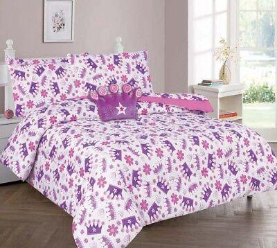Princess Purple Crown Kids/Teens In a Bag COMFORTER Bed Plush Toy Sheet Set  - A Princess Crown