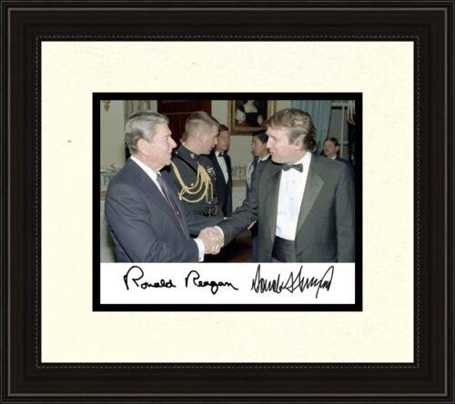 President Ronald Reagan meets Donald Trump Autograph 8 x 10 Photo Frame