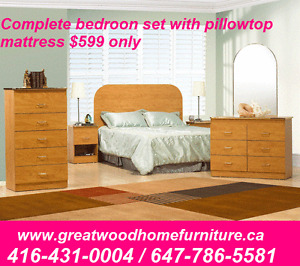 QUEEN SIZE BEDROOM SET WITH FREE PILLOWTOP MATTRESS $599 ONLY