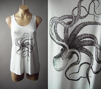 Sale White Octopus Jules Verne Steampunk Graphic Tank Top 296 mvp Shirt S M -
