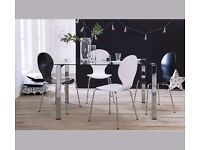 Set of two white dining stackable chairs