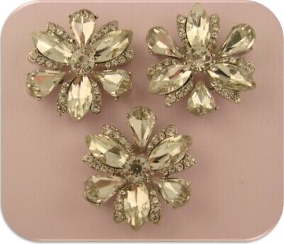 Flower Beads Clear Swarovski Crystal Elements Silver Metal 2 Hole Sliders QTY 3 ()