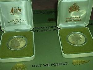 1990 ANZAC 75th Anniv. 2 x $5 Coins Proof Set-1 x AUST. +1 x N.Z. Wembley Cambridge Area Preview