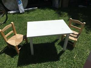 Kids white wooden table and 2 x wicker chairs Caulfield East Glen Eira Area Preview