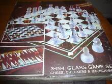 GLASS 3 IN 1 GAME SET CHECKERS BACKGAMMON CHESS. Fawkner Moreland Area Preview