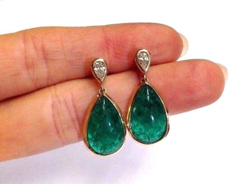 Wow! 18k Gold Deep Blue Green Colombian Emerald Cabochon Diamond Drop Earrings