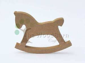 Free standing craft shape mdf wooden rocking horse ebay for Wooden horseshoes for crafts