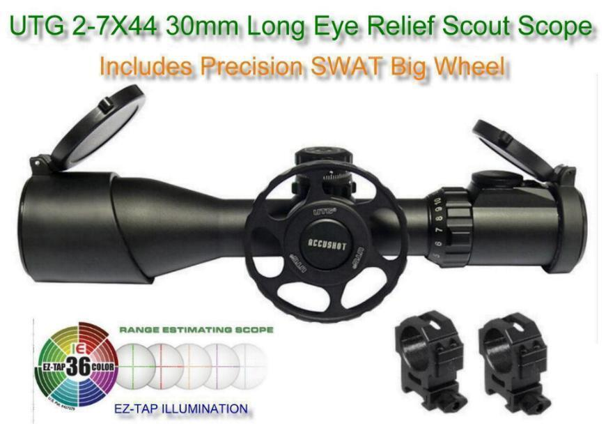 Details about Leapers UTG 2-7X44 30mm Long Eye Relief Scout Scope AO  36-Color w-SWAT Big Wheel