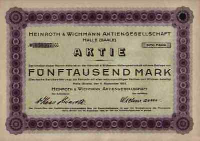 Heinroth & Wichmann 1923 Halle Saale Sachsen Anhalt 5000 RM Historische Aktien