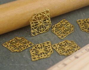 21x15mm-Raw-Brass-Filigree-Art-Pattern-Wrap-Connector-bp45a-10pcs