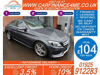 2015 MERCEDES C200 AMG LINE GOOD / BAD CREDIT CAR FINANCE FROM 104 P/WK