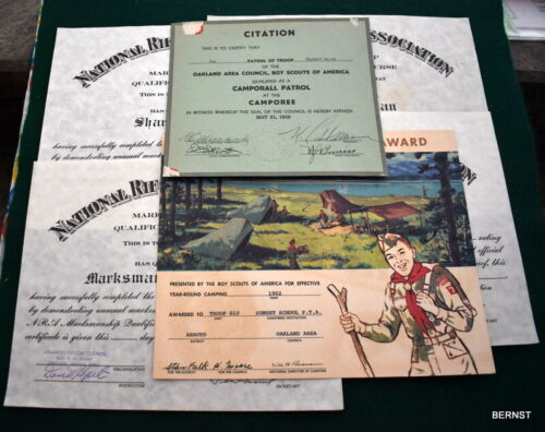 VINTAGE BOY SCOUT - CAMPING AND RIFLE CERTIFICATE LOT