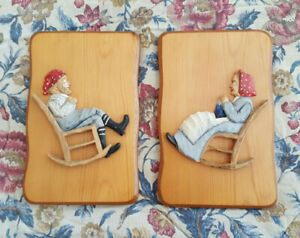 Hand Carved Wood Pictures - Old Man & Woman in Rocking Chairs