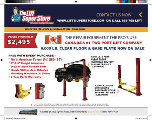"Car Lift 2 Post ""Flex-metric"" or Low Ceiling Base Plate on Sale!"