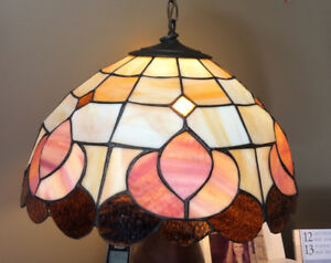 Tiffany style stained glass ceiling mounted room light. 50.00 OB