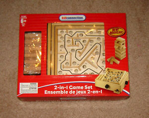 NEW - Wooden 2-in-1 Game - Jumbling Towers / Labyrinth
