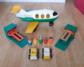 Vintage fisher price cars aeroplane people ramps toys figures x5 From
