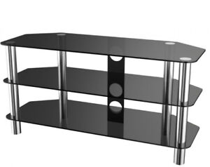 """Black Glass / Chrome TV Stand for TVS up to 50"""""""