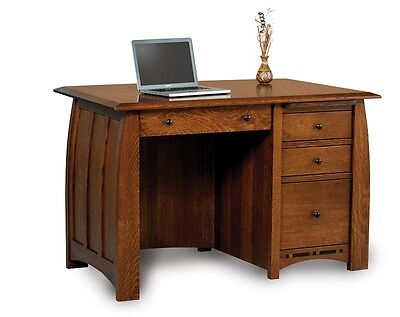 - Amish Computer Writing Desk Solid Oak Maple Wood Office Furniture File Storage