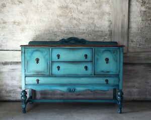 Refinished turquoise antique buffet