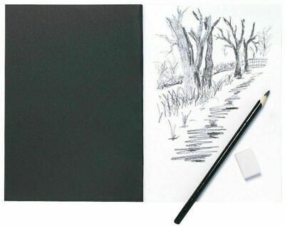 A5 Artist Sketch Book White Cartridge Paper Black Card Cover, Art & Craft