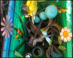 2 Bins Of Misc Used Garden Decor + More