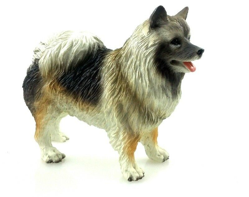 Keeshond Figurine Hand Painted Collectible Statue
