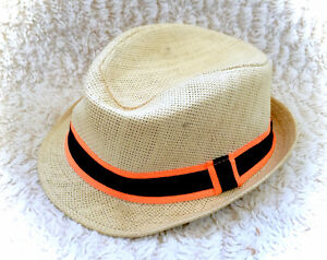 Children's Place Straw Fedora Baby Hat Orange Trim Summer CUTE