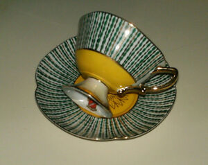SHAFFORD TEA CUP & SAUCER HAND DECORATED IN JAPAN