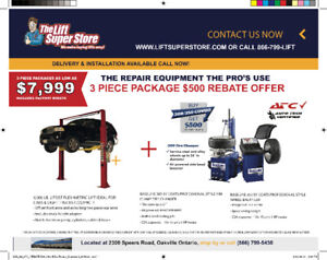 3 Pc Car Lift , Tire Changer & Balancer  - Financing Available