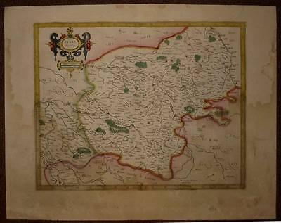 carte ancienne originale, berry ducatus par mercator 1606 antic old map