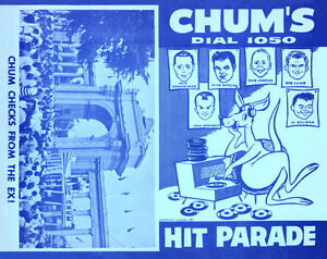 CHUM HIT PARADE CHARTS from radio station 1050 CHUM