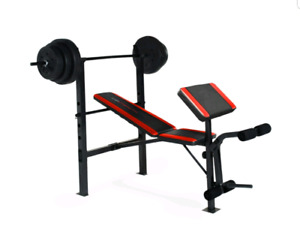 YORK WORKOUT BENCH W/ ATTACHMENTS & WEIGHT