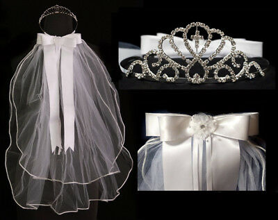 Girls First Holy Communion Tiara Veil Crystal Crown Head Piece Primera Comunion](First Holy Communion Tiaras)