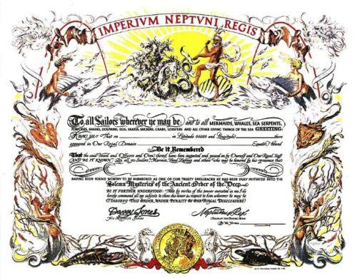 Shellback Certificate blank unused 11 x 14 in. Naval Institute