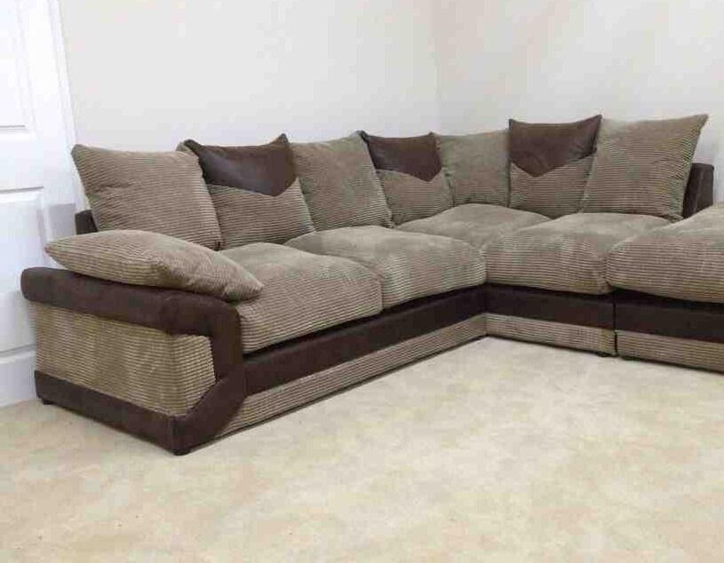 Nice jumbo cord corner sofa, able to deliver as well.