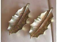 "Pair pretty BRASS HOLLY LEAVES on small feet approx 4"" long - Ideal for Festive Season - gc"