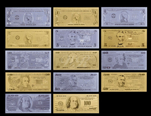 .999 Pure Gold&Silver US Dollar Banknote 14 pcs set American Bill Collectible.