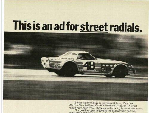 1973 B.F. GOODRICH tires John Greenwood C3 Corvette race driver Vintage Print Ad
